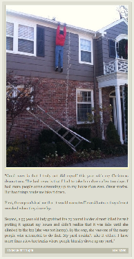 Funny picture of (presumably untrue) story about one guy's decorations.